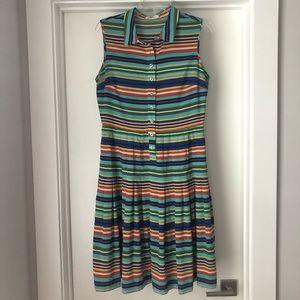 Multicolored striped button down collar dress